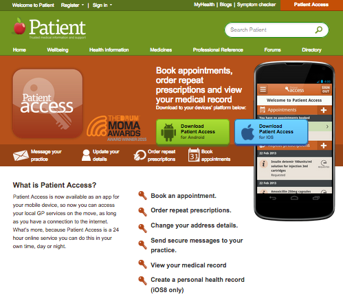 Book appointments, order repeat prescriptions and view your medical record using the Patient Access App.